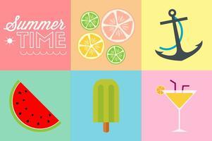 Ícones de cores planas de tempo de verão vetor