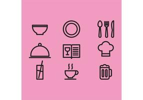 Ícones do vetor de itens de cozinha