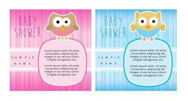 Cartões da festa do bebé da coruja vetor