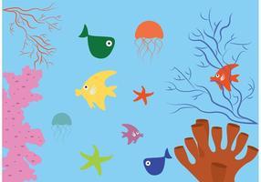 Recife de corais com fundo de peixe vetor