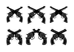 Coleção de formas de arma vintage vetor