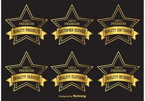 Etiquetas Premium Golden Star vetor