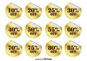 Etiquetas de desconto promocionais de ouro vetor
