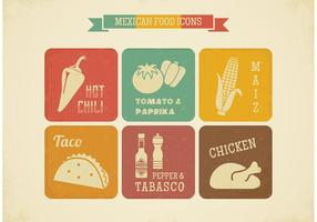 Ícones de vetores de comida retro mexicana