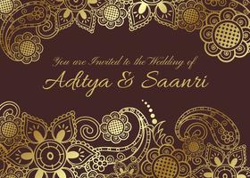 Cartão de Casamento Indiano Dourado