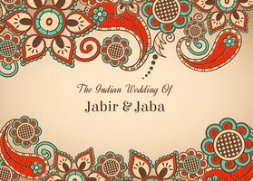 Cartão de casamento indiano colorido colorido do vetor livre