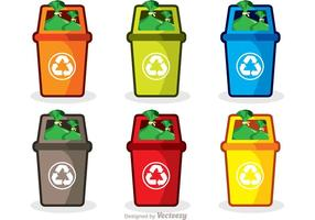 Pacote Vector Colorido De Ícones De Lixo