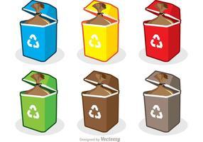Pacote colorido do vetor do lixo