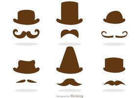 Pacote de vetor de traje de bigode e chapéu