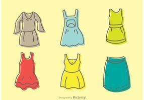 Pacote de vetores de vestidos de desenho animado