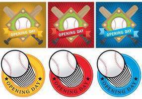 Pacote de dia de inauguração de beisebol vetor