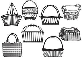 Conjunto de cesta antiga vetor
