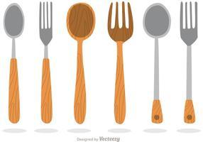 Vetores de utensílios de madeira