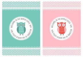 Cartões grátis da coruja do chá de fraldas do vetor