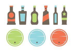 Vetores de barril e garrafa de uísque