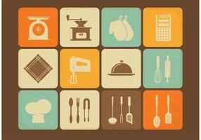 Ícones de vetores de utensílios de cozinha vintage gratuitos
