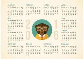 Calendário grátis 2016 com o vetor do macaco Hipster