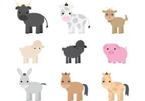 Vetores de animais de fazenda bonitos