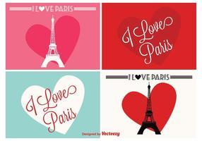 Eu amo etiquetas de Paris vetor
