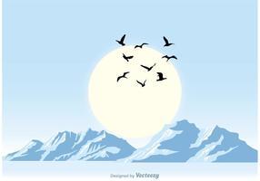 Ilustração azul pacífica do por do sol vetor