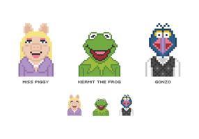 Personagens vetoriais de pixel muppet grátis vetor