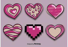 Corações desenhados decorativamente vetor