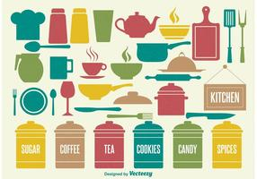 Elementos de cozinha vintage vetor