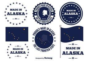 Feito em etiquetas alaska vetor