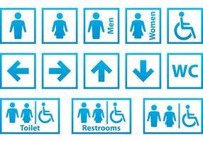 Sinais de banheiro azul e branco