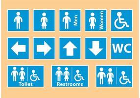 Sinais de banheiro azul vetor
