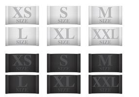 Etiquetas de roupas de medição vetor