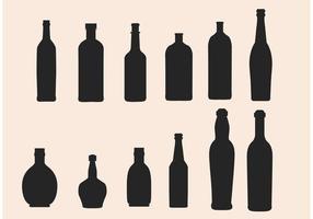 Vetores de silhueta da garrafa de vidro