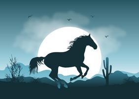 Ilustração selvagem da paisagem do cavalo vetor