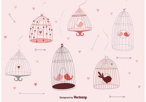 Gaiolas de pássaros bonitos vetor
