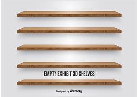 Prateleiras de exibição de madeira