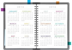 Caderno do calendário 2016 vetor