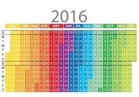 Calendário vertical colorido 2016 vetor