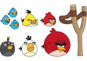 Pássaros irritados com estilingue vetor