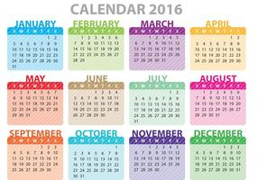 Calendário colorido 2016 vetor