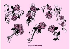 Conjunto de flores vetoriais vetor