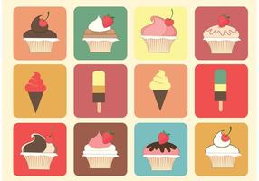 Vetores grátis de muffin e gelado