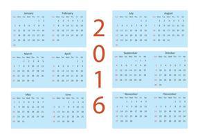 Calendário vetorial 2016 vetor