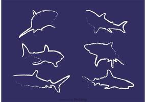 Vetores de tubarões desenhados por giz