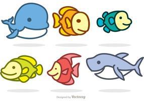 Vetores de animais do mar dos desenhos animados
