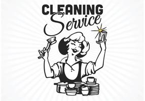 Vector de cartaz de serviço de limpeza retro gratuito