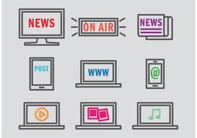 Ícones do vetor de mídia