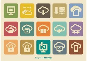Conjunto retro de ícones de computação em nuvem vetor