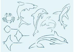 Esboços da vida marinha vetor