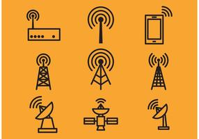 Torre de antena e ícones de vetor de satélite