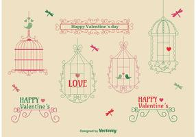 Amor pacote de gaiola de pássaro vintage vetor